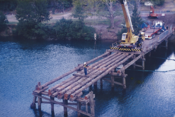 Demolition and pile extraction of bridge crossing on the Upper Hawkesbury River
