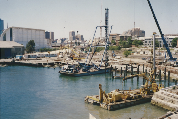 Drilling, pilling and wharf construction fronting The Star in Pyrmont