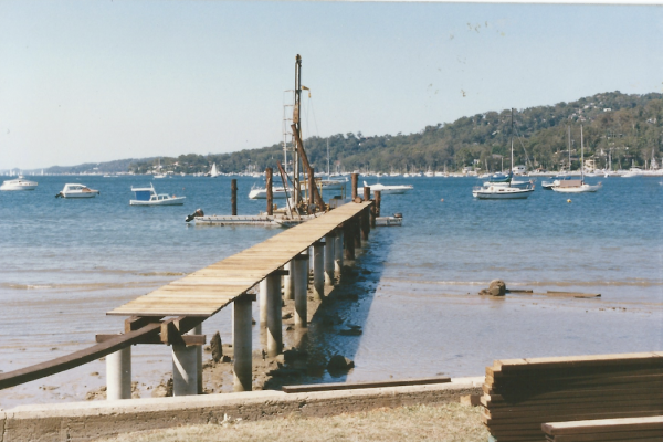 Early custom designed and built drilling and piling rig at Bayview on Pittwater