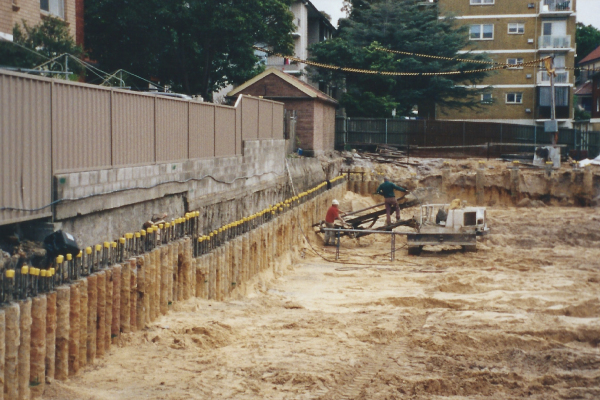 Engineering design, drilling, piling, anchoring, excavation, capping beam and certification in Kensington