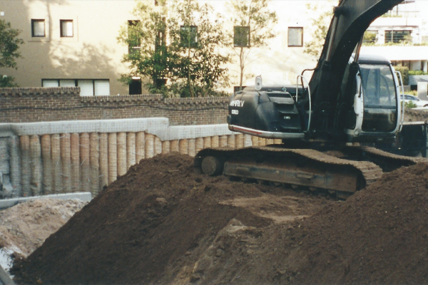 Engineering design, drilling, piling, anchoring, excavation, capping beam and certification in Pagewood