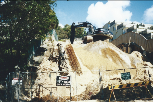 Engineering design, drilling, piling, capping beam, excavation and certification in Bellevue Hill