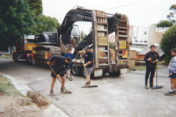 Routine road cleaning after excavator floated