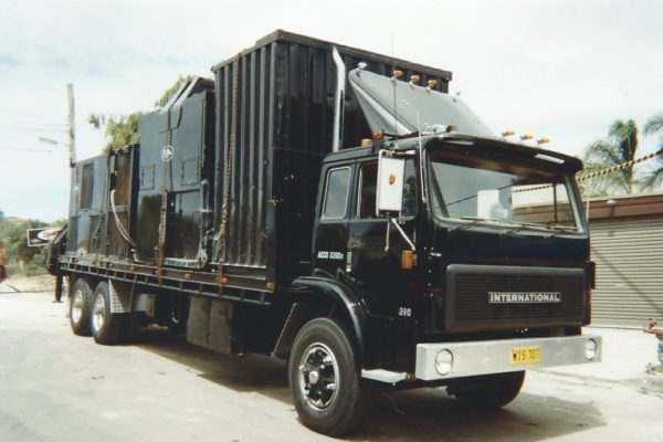 Transporting site sheds and grout pumps